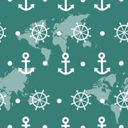 Seamless pattern of blue sea anchors and wheels Stock Illustration