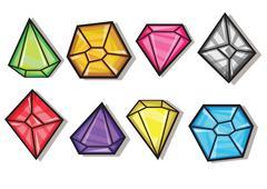 Stock Illustration of cartoon vector gems and diamonds icons set
