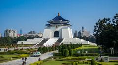 1080 - Chiang Kai Shek Memorial Hall - Taipei Timelapse Stock Footage