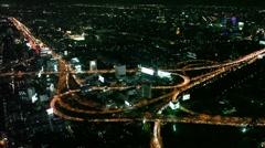 Stock Video Footage Thailand Bangkok traffic jams night Bangkok Highway panorama Stock Footage