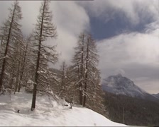 Vehicle shot - descending from steep mountain slope, pine forest in winter Stock Footage