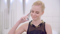 Young Blond Girl Talking Cell Phone Stock Footage