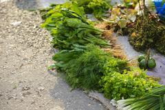 Vegetables for sale on roadside - stock photo