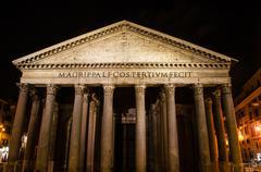 Stock Photo of rome pantheon facade at night time