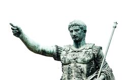 roman emperor bronze statue isolated on white. - stock photo