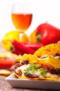 Taco with chili con carne in a bowl Stock Photos