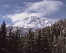 Vehicle shot -  from riding train at snow covered mountain peak and pine forest Stock Footage