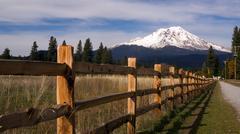 ranch fence row countryside rural california mt shasta - stock photo