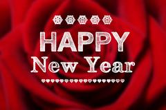 happy new year message with red rose - stock illustration