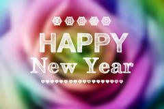 Happy new year message with colorful rose Stock Illustration
