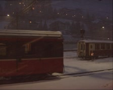 Vehicle shot train departsfrom railway station at night, snowstorm Stock Footage