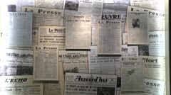 WW2 newspapers in the Airborne Museum, Sainte-Mère-Église, Normandy, France. Stock Footage