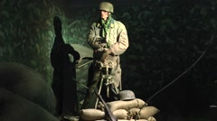 Display in the Airborne Museum, Sainte-Mère-Église, Normandy, France. Stock Footage