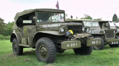 A WWII Dodge 4×4 Command Car, St-Mère-Église, Normandy, France. Stock Footage
