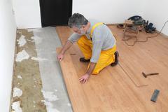 laminate flooring of room - stock photo
