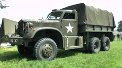 A WWII Diamond T 969 wrecker truck in St-Mère-Église, Normandy, France. Stock Footage