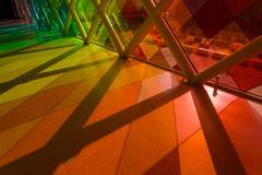 colorful light shadow through window glass - stock photo