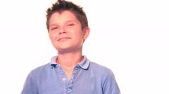 Close portrait of happy boy Stock Footage