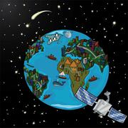 Planet with satellite and stars in space Stock Illustration