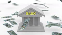 Money falling near the Bank - stock footage