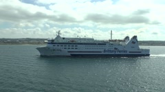The Brittany Ferries passenger ferry 'Barfleur' arriving at Cherbourg, France. Stock Footage