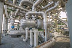 heat exchanger with pipeline - stock photo