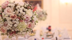 Banquet hall: flowers bouquet Stock Footage