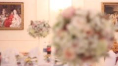 Banquet hall: flowers on the table Stock Footage