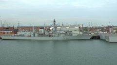 Stock Video Footage of The Royal Navy frigate HMS Iron Duke (F234) in Portsmouth, Hampshire, UK.