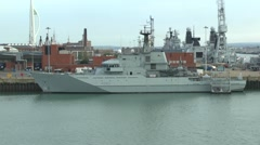 The Royal Navy ship HMS Mersey (P283) in Portsmouth, Hampshire, UK. Stock Footage