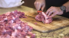Making sausage 08, cutting pork butt Stock Footage