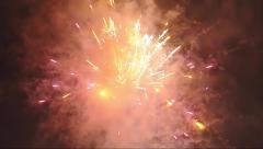 Night fireworks on dark sky Stock Footage