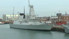 The Royal Navy ship HMS Defender (D36) in Portsmouth, Hampshire, UK. Stock Footage