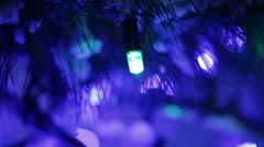 Illumination on Christmas tree Cu Stock Footage