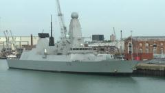 The Royal Navy ship HMS Dragon (D35) in Portsmouth, Hampshire, UK. Stock Footage
