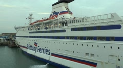 The Brittany Ferries ferry 'Bretagne' in Portsmouth, Hampshire, UK. Stock Footage