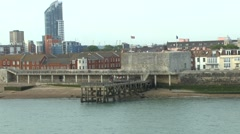 Historic city walls along the Solent in Portsmouth, Hampshire, UK. Stock Footage
