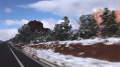 Driving in Sedona in Snow Stock Footage
