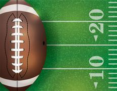 American football ball and field illustration Stock Illustration