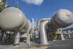 heat exchanger in refinery plant - stock photo