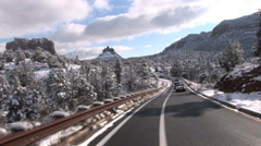 Sedona Snow- Driving Forward Stock Footage