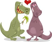 Dinos in love cartoon illustration Stock Illustration