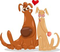 Dogs in love cartoon illustration Stock Illustration