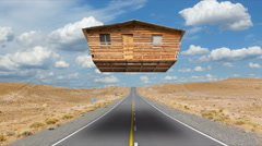Surrealistic house floating over highway  Stock Footage