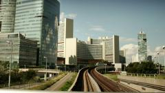 TIME LAPSE Donau-City Vienna with underground and UNO-City – tracking shot - stock footage