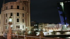 TIME LAPSE Old and new Vienna at night – tracking shot Stock Footage