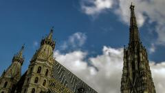 TIME LAPSE St. Stephan's cathedral Vienna – tracking shot, slight zoom Stock Footage