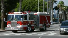 4K, UHD, Los Angeles Fire Department on Wilshire Blvd, BlackMagic Camera Stock Footage