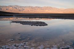 Badwater basin panamint range sunrise death valley national park Stock Photos