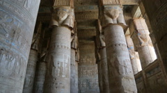 Interior of hall at Dendera Temple in Egypt - stock footage